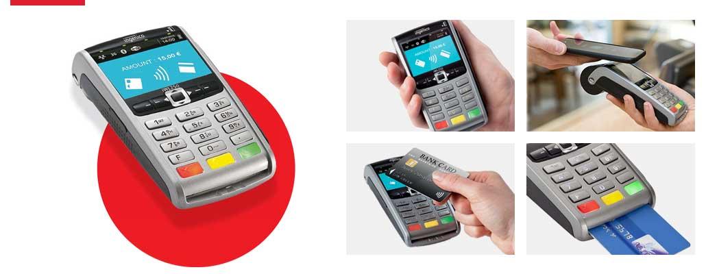 Das EC-Kartenlesegerät iWL250 von der Firma Ingenico: Bezahlung per Karte (kontaktlos oder mit Chip durch Einstecken) oder kontaktlos mit Smartphone.