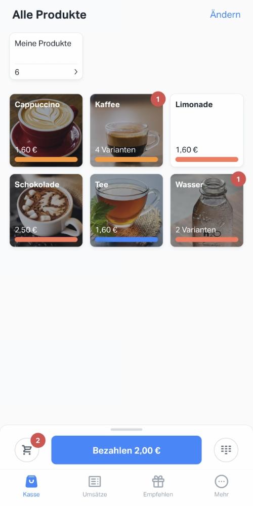 SumUp App Produkt-Menu