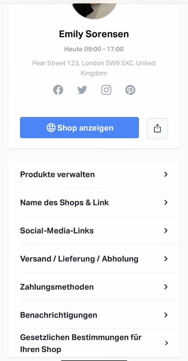 SumUp Onlineshop Account-Menü